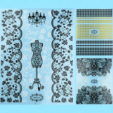 3D Wedding Black White Flower Lace Gold Grid Nail Art Nail Sticker Manicure Tool