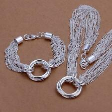 925 Sterling Silver Plated Many Lines Bracelet Necklace jewelry Sets gift