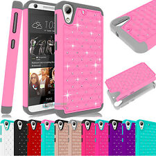Dual Layer Hybrid Luxury Bling Rugged Rubber Case Cover For HTC Desire 626 626S