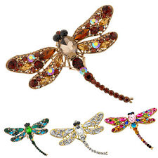 Women's Sassy Dragonfly Crystal Brooch Lovely Rhinestone Scarf Pin Jewelry