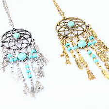 Women Lady Retro BOHO Dream Catcher Turquoise Chain Necklace +Turquoise Earring
