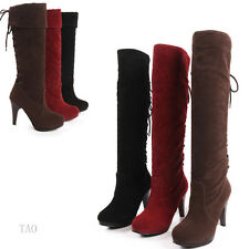 Fashion Women's High Heel Behind Lace Up Shoes Knee High Boots AU All Size TB663