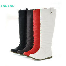 New Fashion Women's Knee High comfort  Boots Flat Heel Hasp Shoes AU All sz R637