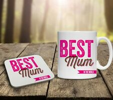 MOTHERS DAY BEST MUM PERSONALISED MUG & COASTER GIFT SET cup ANY NAME tea coffee