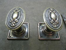 Pair Original Reclaimed Brass Copper/Plate Door Handles 0162