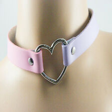 Collar Punk Goth Heart Cross Choker Necklace Ring Harajuku Leather Neck Ring k