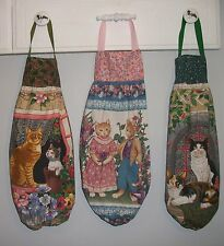 Cats Tuxedo Calico Orange Gray Tan Flowers Plastic Bag Rag Sock Holder HCF&D