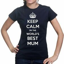 Keep Calm Worlds Best Mum Mothers Day Gift For Mom Ladies T shirt Tee Top Tshirt