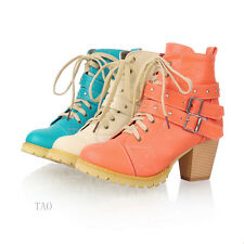 Women's Warm Mid Heel Ankle Lace Up Shoes Winter Boots AU ALL Size  TB265