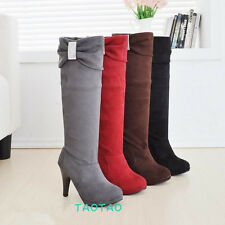 NEW Style Knee High Bowknot Shoes Cute Ladies High Heel Boots AU All Size TB086