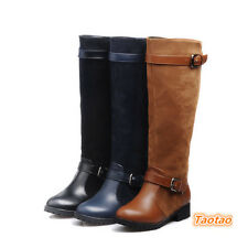 Women's Low Heels Shoes Buckle Comfort Knee High Casual Boots AU ALL Size TB1062