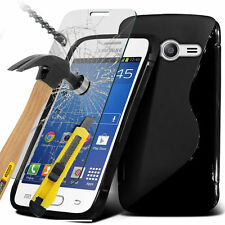S-Line Slim Wave Gel Phone Case Cover+Glass Screen Protector for Samsung
