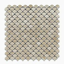 Crema Marfil Fish Scale Fan Pattern Mesh-Mounted Marble Mosaic Tile