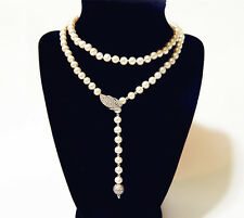 Genuine Cultured Freshwater Pearl 7-8mm 33 inch Long Pearl Necklace AAA Grade
