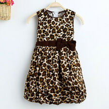 Girl Dress 2 Layers Leopard Print Lantern Bow Sundress Party Child Clothes NWT