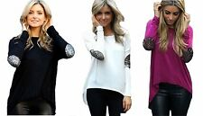 Sexy Womens Crew Neck Cotton Loose Long Sleeve Blouse Tee Shirt Casual Tops