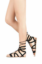 Women's Open Toe Leg Wrap Strappy Lace Up Cage Cut Out Gladiator Flat Sandal