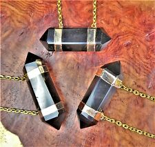 Smoky Quartz Necklace - Crystal Point Connector Pendant (A51) Gold Plated Charm