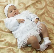 Baptism Baby Dress Newborn 2 PCS Set Christening Baby Girl Outfit Cotton Clothes
