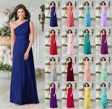 Long Bridesmaid Dress Wedding Chiffon One Shoulder Ball Gown Party Prom Dresses