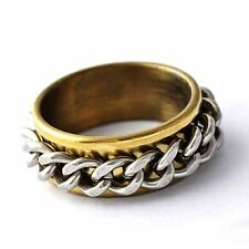 Mans Jewelry chain Ring Gold Filled stainless steel band Wedding Ring Size 7-11