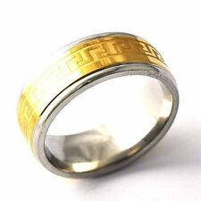 Fashion Jewelry Stainless Steel Yellow Gold Filled Mens Unisex Band Ring