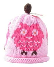 MERRY BERRIES Baby Girls Pink Owls Knitted Hat - 100% Cotton - BNWT NEW