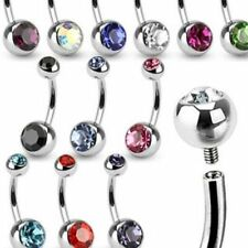 14G 316L Surgical Steel Internally Threaded Double CZ Gem Ball Belly Navel Ring