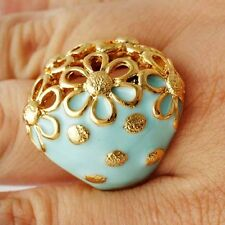 Appealing Blue Enamel Yellow Gold plated Womens hollow Flower Ring SZ 7-9#