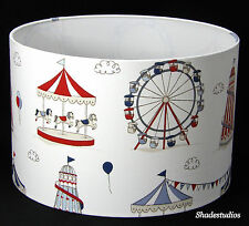 Hand Made Cream and Red Childrens Lampshade With Cartoon Fun Fair Design