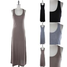 Racerback Solid Sleeveless Scoop Neck Full Length Maxi Dress Casual Rayon S M L