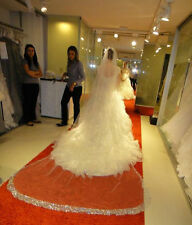 White Ivory Luxury Cathedral Length One Tier Crystals Edge Bridal Wedding Vei