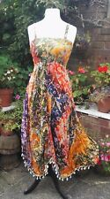 Gringo Fair trade Boho Orange Ethnic Batik Tie Dye Maxi Sun Festival Dress S M L