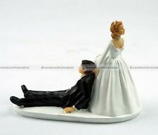BFE Humor Marriage Funny Polyresin Figurine Wedding Cake Toppers Bride Groom New