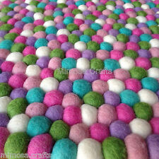 New Mimosa Design Felt Ball Rug -  6 Color Nursery Felt Ball Mat - Made to Order