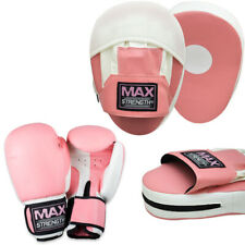 Ladies Boxing Focus Pads Set MMA Hook and Jab Punching Pink Bag Mitts Kick Fight