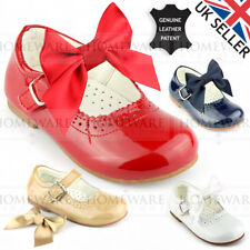 BABY GIRLS LEATHER SPANISH PATENT SHOE MARY JANE WITH SATIN BOW SIZE UK2 TO UK12
