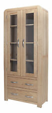 BRISBANE SOLID OAK LARGE GLASS FRONTED DISPLAY CABINET CUPBOARD WITH DRAWERS