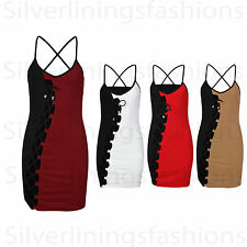 New Womens Monochrome Aide Front Lace Up Ladies Strappy Bodycon Party Dress 8-14