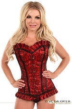Top Drawer Sexy Red Satin w Lace Steel Boned Lingerie Corset Size S-6XL