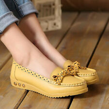 Trendy Women Leather Casual Flats Ladies Oxford Shoes Loafers Moccasins Slip On