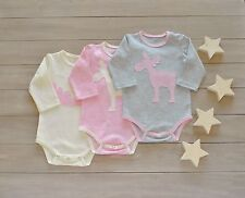 Baby Girl Onesie Infant Handmade Cotton Pink Gray White Bodysuits Deer Applique