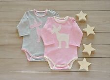 Newborn Girls Babybody Infant Handmade Baby Onesie 2 Piece Set Deer Applique