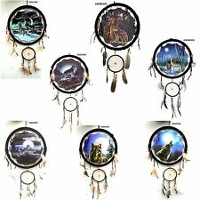"""NEW 13"""" Wolf Dream Catcher choose 9 different Wolf scenes 33"""" long moon indian"""