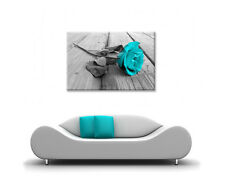 LARGE FRAMED CANVAS WALL ART CYAN & GREY ROSE PICTURE BEAUTIFUL NEW PRINT FLOWER
