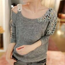 Women Pullover Sweater Fashion O-neck Crochet Shoulder Solid Thin Sweaters