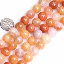 Round Orange Dragon Veins Agate Beads Loose Gemstone Beads for Jewelry Making15""