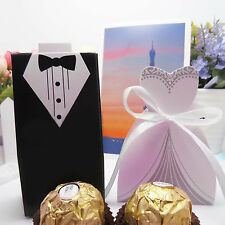 50 Pc Bridal Gift Cases Groom Tuxedo Dress Gown Ribbon Wedding Favor Candy Box