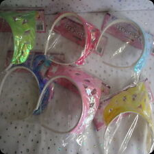 girls ladies tiara fancy dress costume princess pink yellow green blue purple