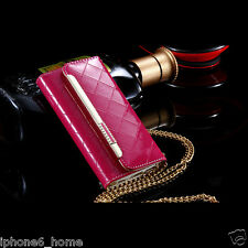 Patent Leather Hot Pink Clutch-Handbag Folio Case +Chain For iPhone 6/6s Plus